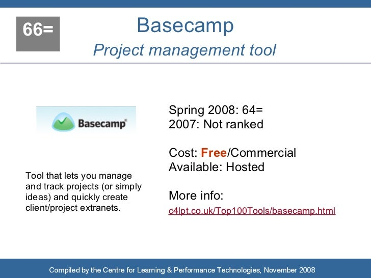 66=                        Basecamp                 Project management tool                                   Spring 2008:...