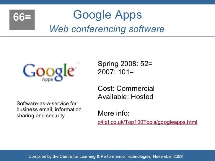 66=                    Google Apps              Web conferencing software                                 Spring 2008: 52=...