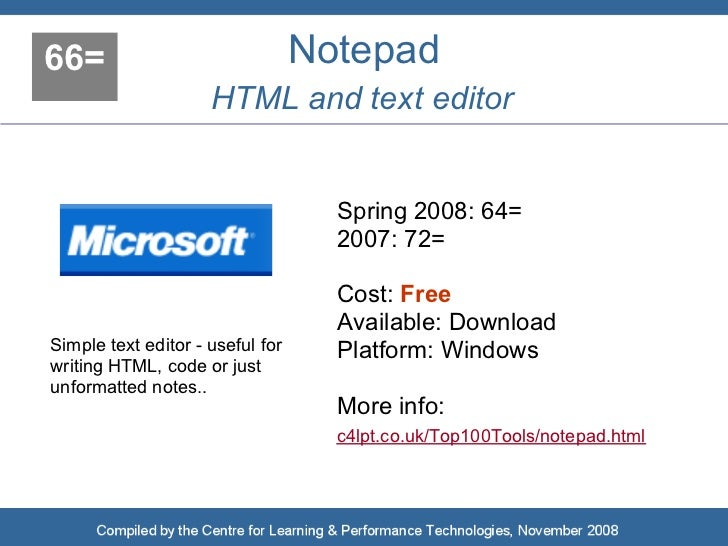 66=                               Notepad                      HTML and text editor                                       ...