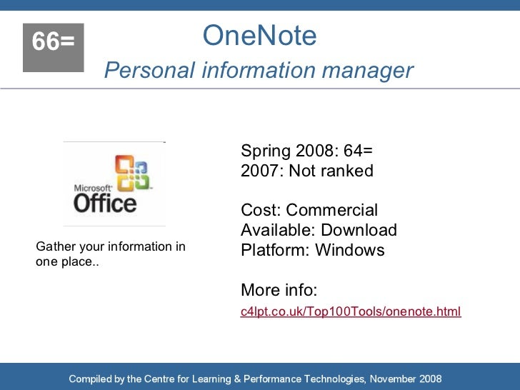 66=                          OneNote            Personal information manager                                  Spring 2008:...