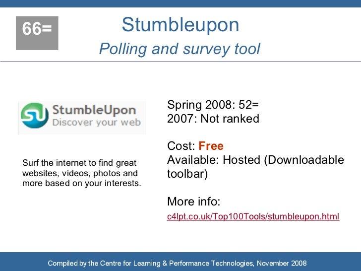 66=                      Stumbleupon                    Polling and survey tool                                     Spring...
