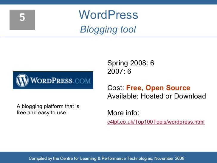 5                        WordPress                               Blogging tool                                       Sprin...