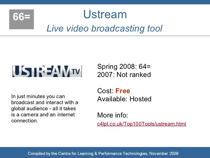 66=                              Ustream                Live video broadcasting tool                                      ...