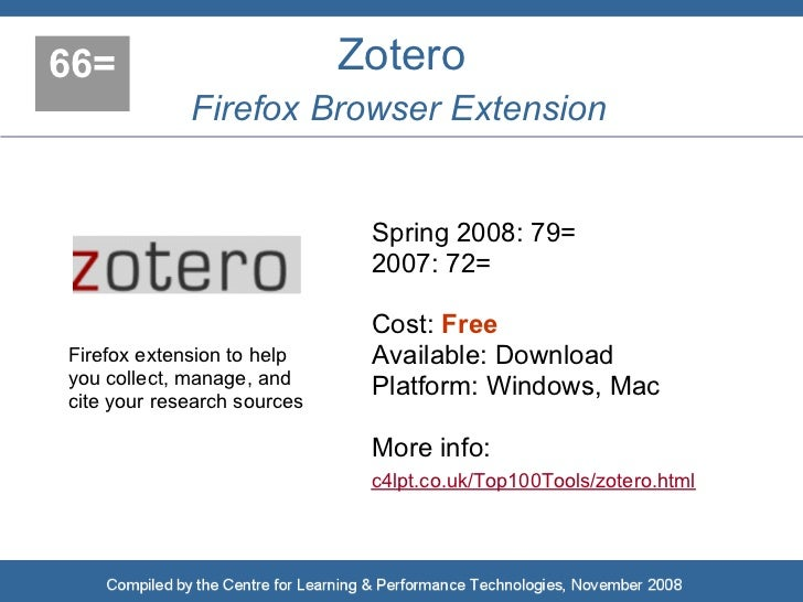 66=                          Zotero              Firefox Browser Extension                                 Spring 2008: 79...