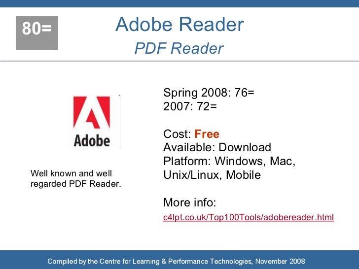 80=               Adobe Reader                        PDF Reader                            Spring 2008: 76=              ...