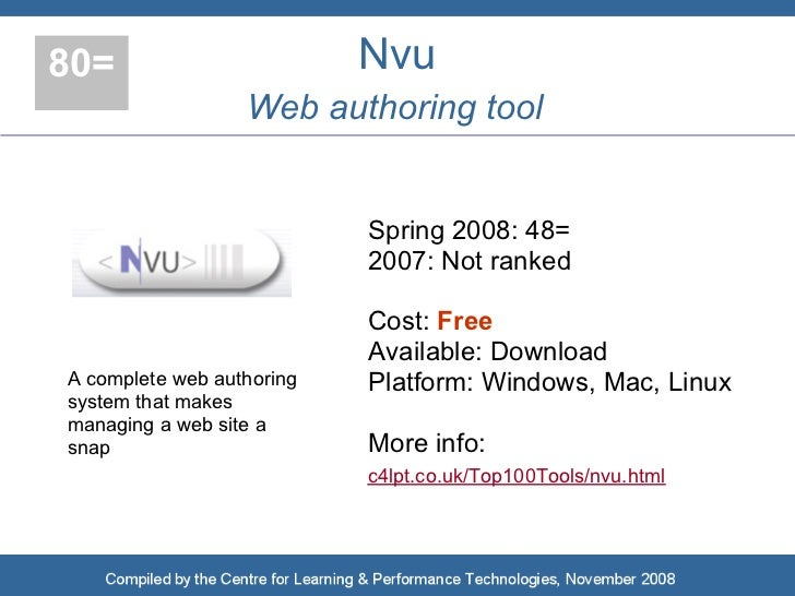 80=                        Nvu                   Web authoring tool                              Spring 2008: 48=         ...