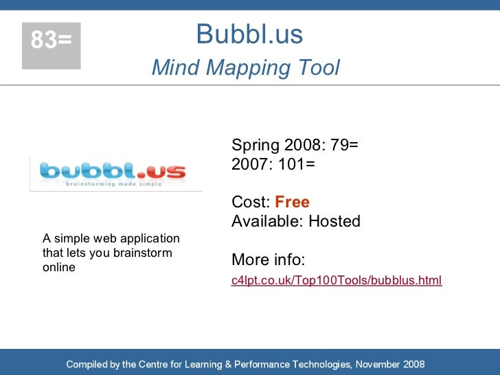 83=                        Bubbl.us                   Mind Mapping Tool                                Spring 2008: 79=   ...