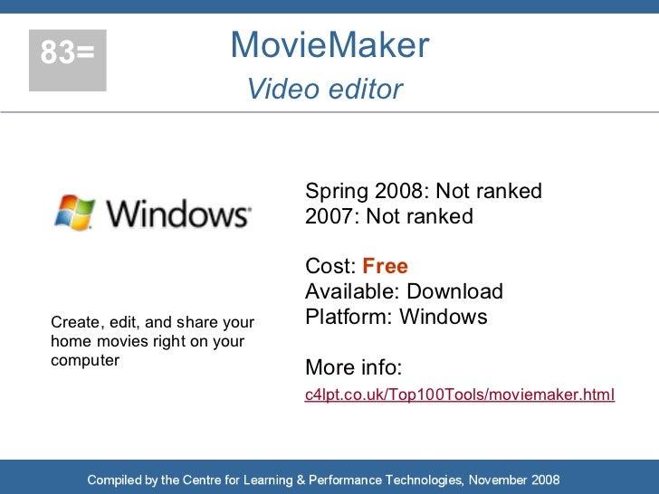 83=                     MovieMaker                           Video editor                                  Spring 2008: No...
