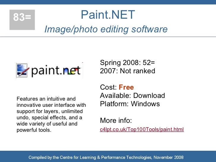 83=                        Paint.NET            Image/photo editing software                                    Spring 200...