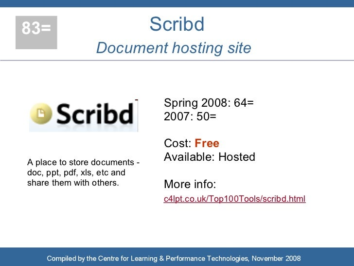 83=                            Scribd                  Document hosting site                                   Spring 2008...