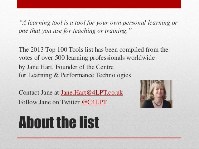 """A learning tool is a tool for your own personal learning or one that you use for teaching or training."" The 2013 Top 100 ..."
