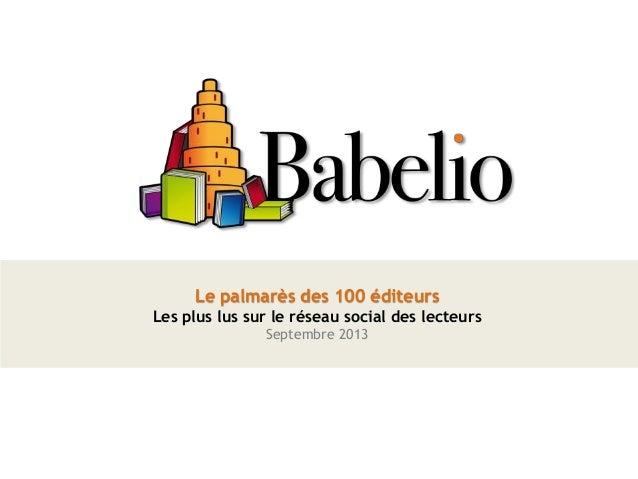 Le palmarès des 100 éditeurs Les plus lus sur le réseau social des lecteurs Septembre 2013