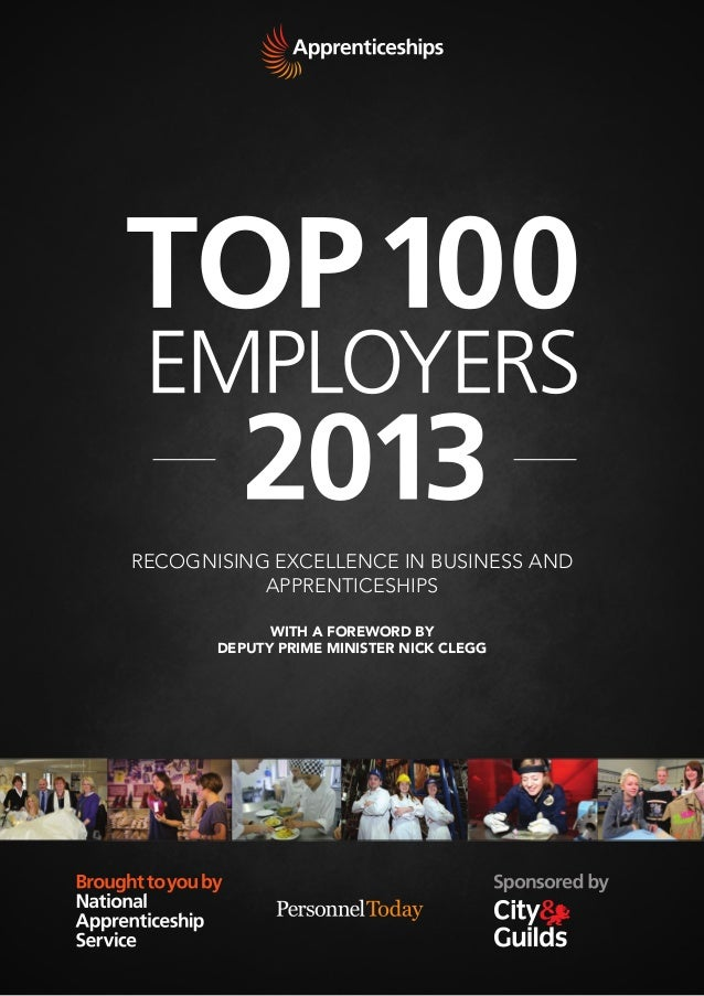 RECOGNISING EXCELLENCE IN BUSINESS AND APPRENTICESHIPS WITH A FOREWORD BY DEPUTY PRIME MINISTER NICK CLEGG