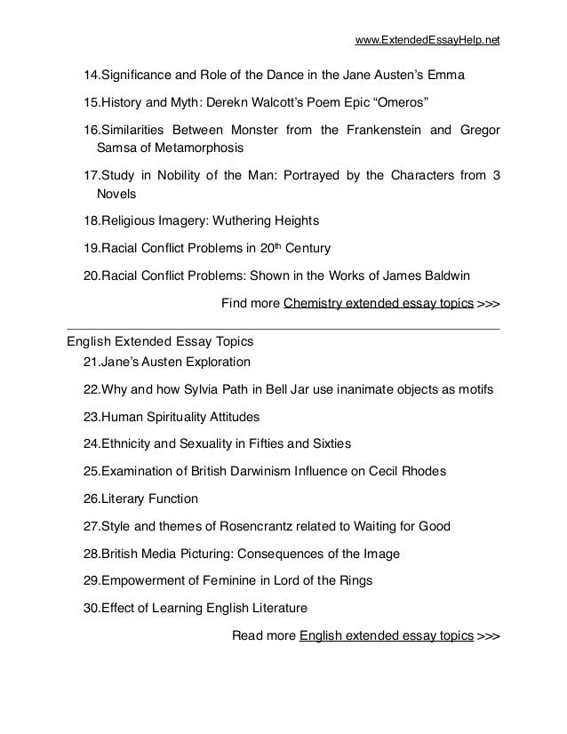 top extended essay topics 2