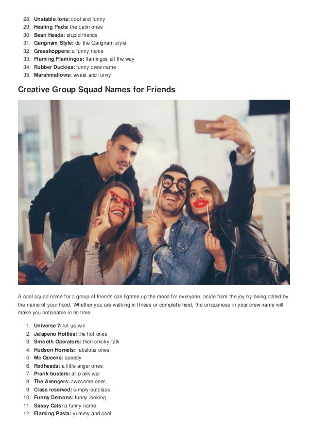 Top 100 groups squads names for friends cute nicknames