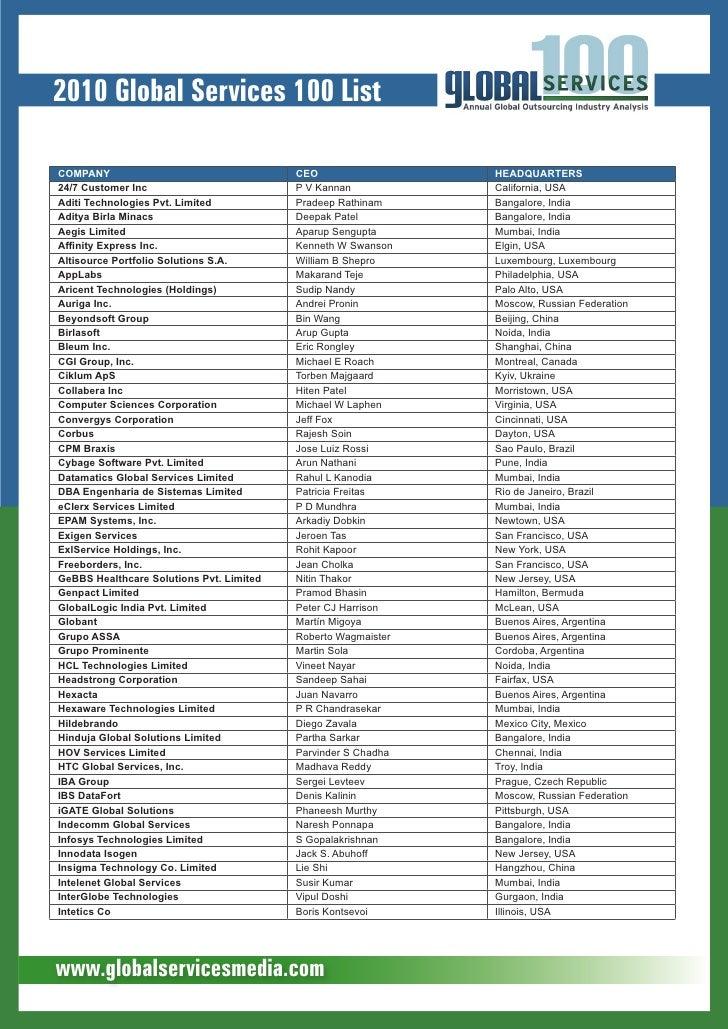 2010 Global Services 100 List  Company                                   CEo                  HEadquartErs 24/7 Customer I...