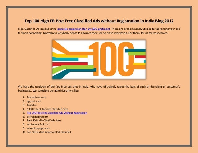 Top 100 High PR Post Free Classified Ads without