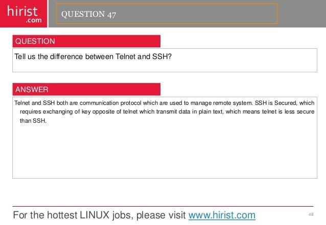 For the hottest LINUX jobs, please visit www.hirist.com  hirist  .com  TellusthedifferencebetweenTelnetandSSH?  48  QUESTI...