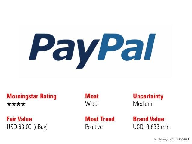 Morningstar Rating QQQQ Fair Value USD 63.00 (eBay) Moat Wide Moat Trend Positive Bron: Morningstar/Brandz 22/5/2014 Uncer...