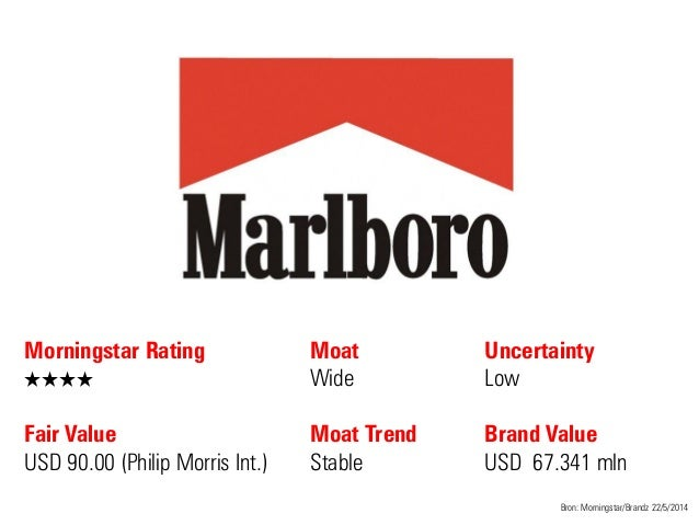 Morningstar Rating QQQQ Fair Value USD 90.00 (Philip Morris Int.) Moat Wide Moat Trend Stable Bron: Morningstar/Brandz 22/...