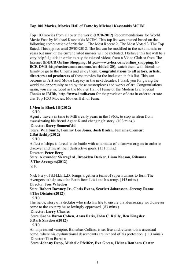 Top 100 Movies, Movies Hall of Fame by Michael Kassotakis MCIM Top 100 movies from all over the world (1970-2012) Recommen...