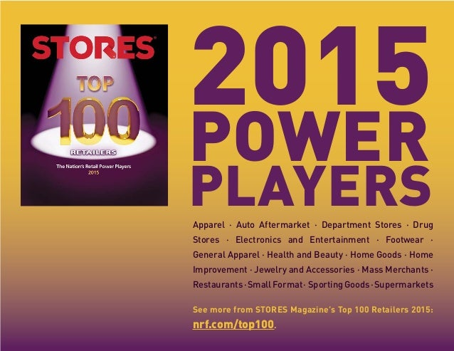 2015 POWER PLAYERSApparel · Auto Aftermarket · Department Stores · Drug Stores · Electronics and Entertainment · Footwear ...