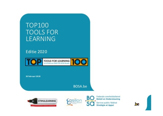 BOSA.be Editie 2020 20 februari 2020 TOP100 TOOLS FOR LEARNING