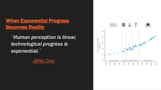 """When Exponential Progress Becomes Reality """"Human perception is linear, technological progress is exponential."""" -@Niv Dror"""