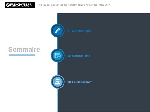 Top 100 des entreprises qui recrutent dans le numérique - mars 2017 Sommaire 01. Méthodologie 02. Chiffres-clés 03. Le cla...