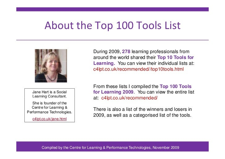 Top 100 Tools for Learning 2009 Slide 2