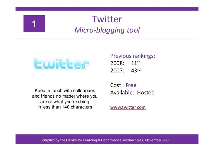 Top 100 Tools for Learning 2009 Slide 3