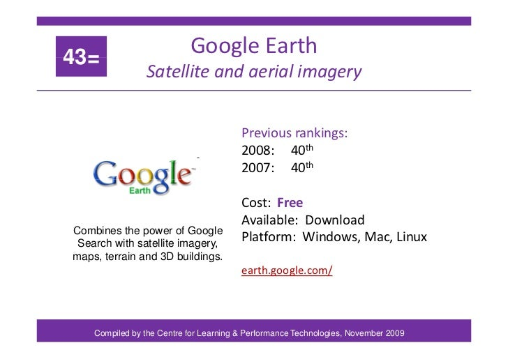 43= Google Earth g Satellite and aerial imagery Previous rankings: