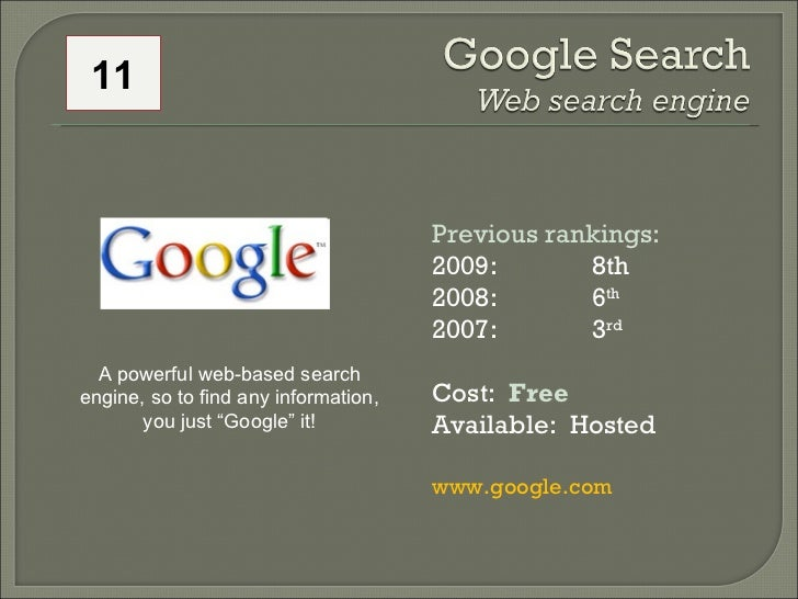 Previous rankings: 2009: 8th 2008:  6 th   2007:  3 rd   Cost:  Free Available:  Hosted www.google.com A powerful web-base...
