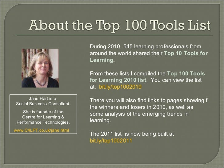 During 2010, 545 learning professionals from around the world shared their  Top 10 Tools for Learning . From these lists I...