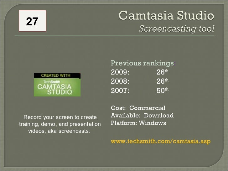 Previous rankings : 2009: 26 th   2008:  26 th   2007:  50 th   Cost:  Commercial Available:  Download Platform: Windows w...