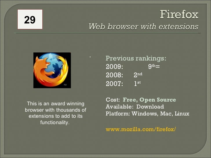 .  Previous rankings: 2009: 9 th = 2008:  2 nd   2007:  1 st   Cost:  Free, Open Source Available:  Download Platform: Win...