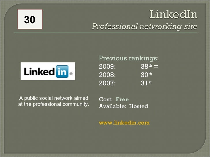 Previous rankings: 2009: 38 th  = 2008:  30 th   2007:  31 st   Cost:  Free Available:  Hosted www.linkedin.com   A public...
