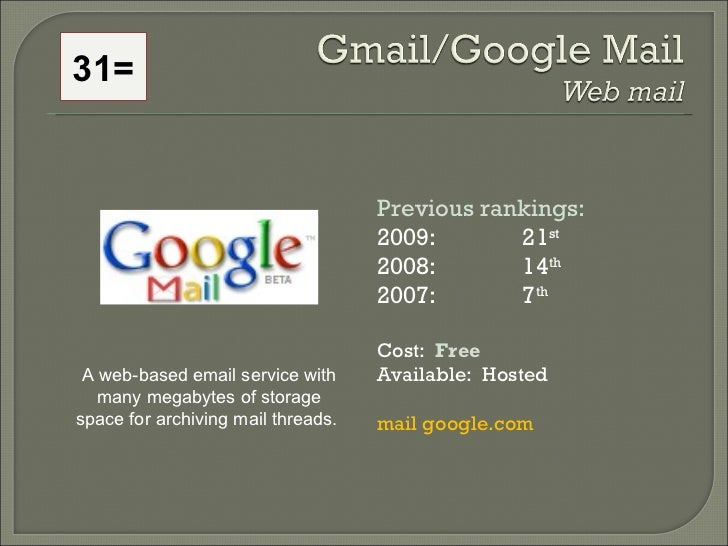 Previous rankings: 2009: 21 st   2008:  14 th   2007:  7 th   Cost:  Free Available:  Hosted mail google.com A web-based e...