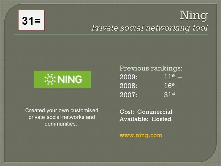 Previous rankings: 2009: 11 th  = 2008:  16 th   2007:  31 st   Cost:  Commercial  Available:  Hosted www.ning.com Created...