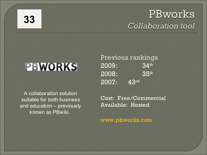 Previous rankings 2009: 34 th   2008:  35 th   2007:  43 rd   Cost:  Free /Commercial Available:  Hosted www.pbworks.com A...