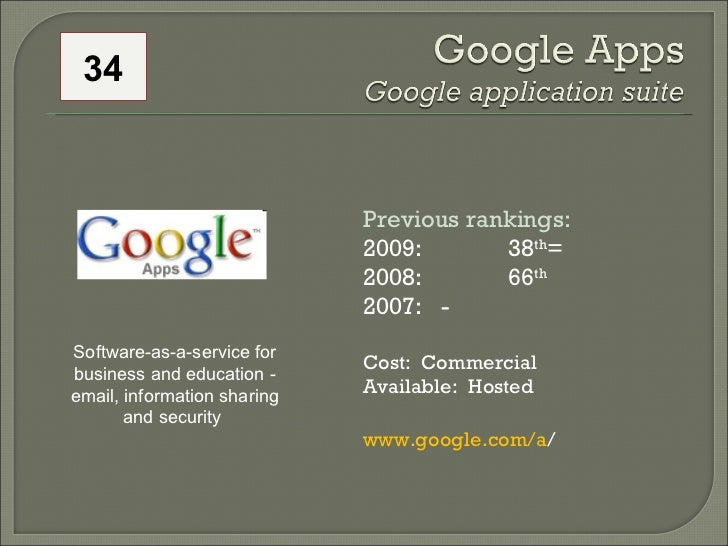Previous rankings:  2009: 38 th =  2008:  66 th   2007:   - Cost:  Commercial Available:  Hosted www.google.com/a /  Softw...