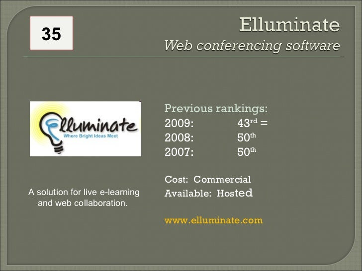 Previous rankings: 2009: 43 rd  = 2008:  50 th   2007:  50 th   Cost:  Commercial Available:  Hos ted www.elluminate.com  ...