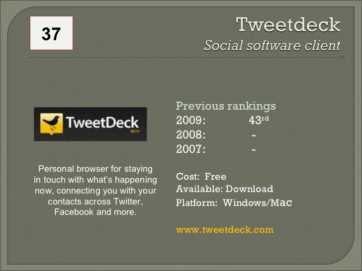 Previous rankings : 2009: 43 rd   2008:   - 2007:   - Cost:  Free Available: Download Platform:  Windows/M ac www.tweetdec...
