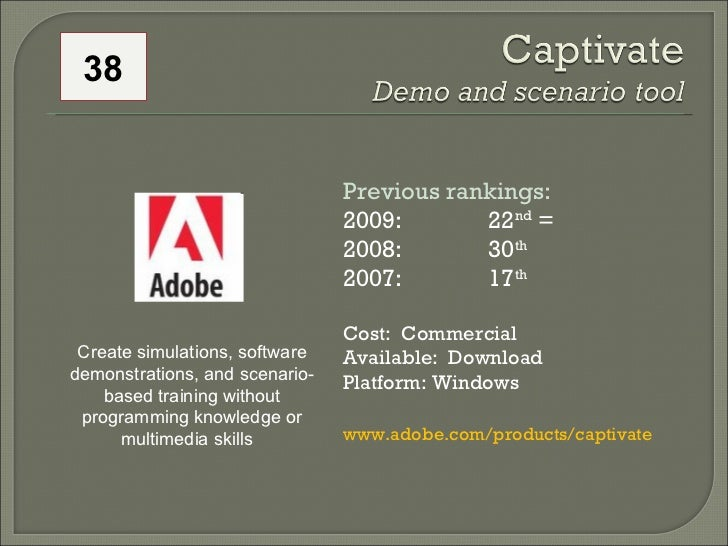 Previous rankings: 2009: 22 nd  = 2008:  30 th   2007:  17 th   Cost:  Commercial Available:  Download Platform: Windows w...