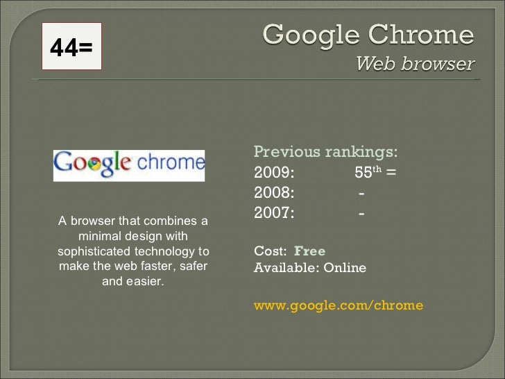 Previous rankings: 2009: 55 th  = 2008:   - 2007:   - Cost:  Free Available: Online www.google.com/chrome  A browser that ...
