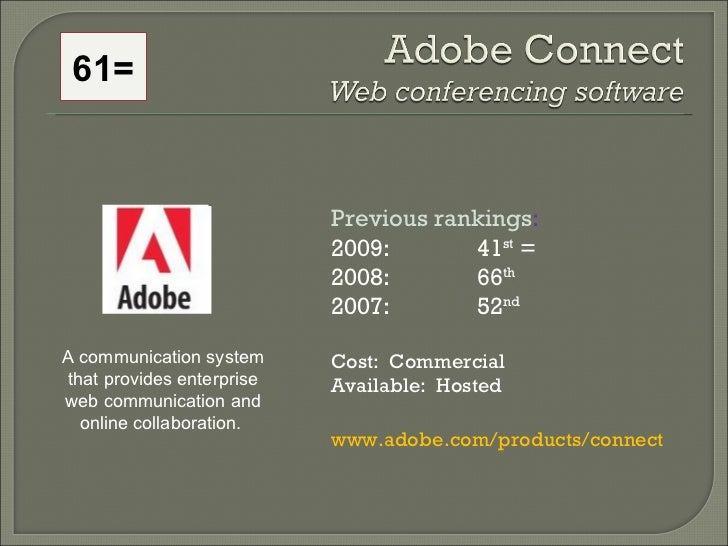 Previous rankings : 2009: 41 st  = 2008:  66 th   2007:  52 nd   Cost:  Commercial Available:  Hosted www.adobe.com/produc...