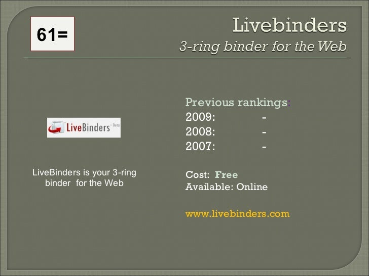 61= Previous rankings : 2009:  - 2008:   - 2007:   - Cost:  Free   Available: Online www.livebinders.com   LiveBinders is ...