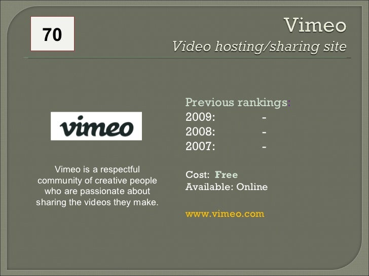 70 Previous rankings : 2009:  - 2008:   - 2007:   - Cost:  Free   Available: Online www.vimeo.com Vimeo is a respectful co...