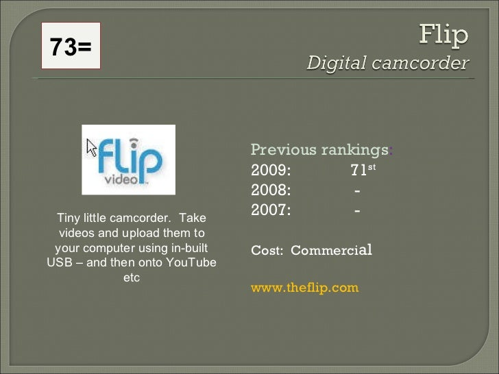 Previous rankings : 2009: 71 st   2008:   - 2007:   - Cost:  Commerci al www.theflip.com   Tiny little camcorder.  Take vi...