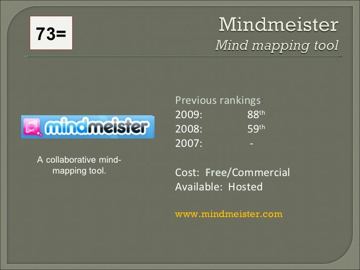 Previous rankings : 2009: 88 th   2008:  59 th   2007:   - Cost:  Free /Commercial Available:  Hosted www.mindmeister.com ...